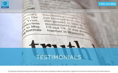 Screenshot of Testimonials Page auditelinc.com - Auditel Testimonials | Telecom Audit |Customer Service | Telecom Training - captured May 31, 2017