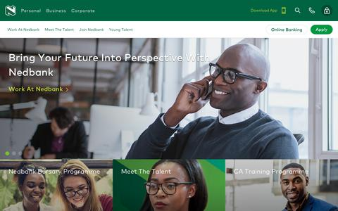 Screenshot of Jobs Page nedbank.co.za - Careers - captured Feb. 16, 2019