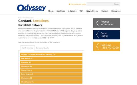 Screenshot of Contact Page Locations Page odysseylogistics.com - Locations   Odyssey Logistics & Technology - captured Oct. 26, 2014