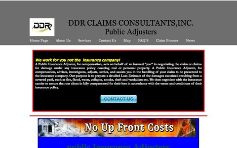 Screenshot of Home Page ddrclaims.com - Home Page - captured Oct. 5, 2014