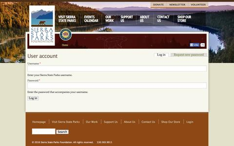 Screenshot of Login Page sierrastateparks.org - User account | Sierra State Parks - captured May 7, 2016