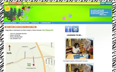 Screenshot of Maps & Directions Page cozypine.com - Cozy Pine - Montessori School in Parker, Colorado - captured Oct. 27, 2014