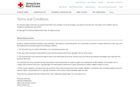 Screenshot of Terms Page redcross.org - Terms and Conditions | American Red Cross | Intellectual Property - captured July 20, 2014