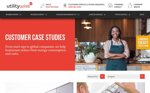 Screenshot of Case Studies Page utilitywise.com - Case Studies | Utilitywise plc - captured Sept. 21, 2018