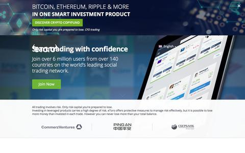 Screenshot of Home Page etoro.com - eToro - The Social Trading & Investment Network - captured Aug. 3, 2017