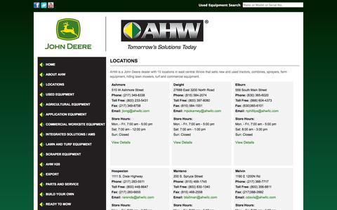 Screenshot of Locations Page arendshoganwalker.com - Illinois John Deere Dealer| Tractors| Farm Equipment| Lawn Care and Turf Equpment » Arends Hogan Walker - captured Sept. 23, 2014
