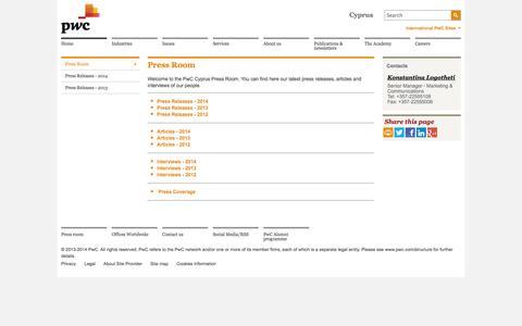Screenshot of Press Page pwc.com.cy - Press Room Home - PwC Cyprus - captured Oct. 3, 2014