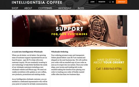 Screenshot of Support Page intelligentsiacoffee.com - Support for our Customers | Intelligentsia Coffee - captured Sept. 19, 2014