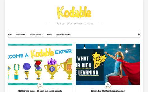 Screenshot of Blog kodable.com - | Tips for teaching kids to code - captured Nov. 16, 2019