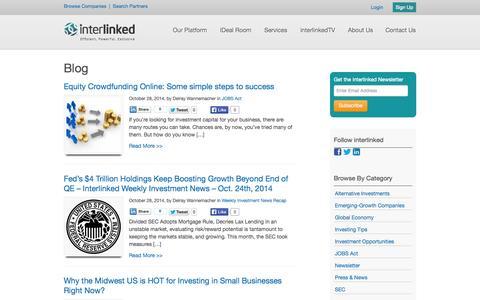 Screenshot of Blog interlinked.com - Alternative Investment News, Tips, and Opportunities - Interlinked Blog - captured Oct. 29, 2014