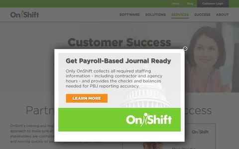 Screenshot of Services Page onshift.com - Customer Success Management | OnShift - captured Feb. 7, 2016