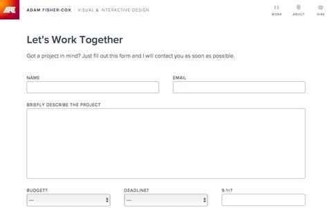 Contact   Adam Fisher-Cox, Visual & Interactive Designer