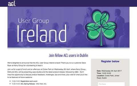 Screenshot of Landing Page acl.com - ACL User Group Ireland - captured April 20, 2018