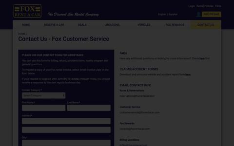 Screenshot of Contact Page foxrentacar.com - Customer Service Contact Info - Contact Us - Fox Rent A Car - captured June 5, 2018