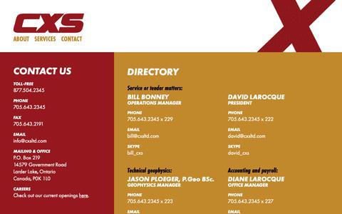 Screenshot of Contact Page cxsltd.com - Contact | CXS - Canadian Exploration Services Limited - captured Sept. 26, 2018