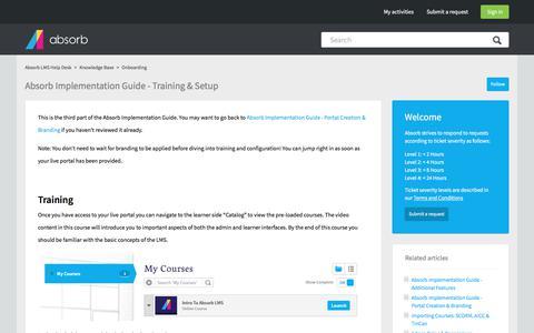 Screenshot of Support Page absorblms.com - Absorb Implementation Guide - Training & Setup – Absorb LMS Help Desk - captured Jan. 23, 2018
