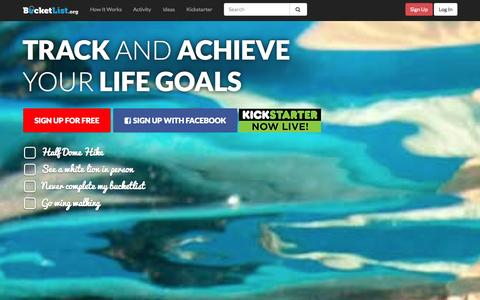 Screenshot of Home Page bucketlist.org - Bucketlist »  10,000 things to do before you die - captured Sept. 25, 2014