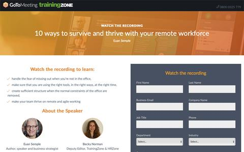 Screenshot of Landing Page gotomeeting.com - 10 ways to survive and thrive with your remote workforce - captured Sept. 30, 2018