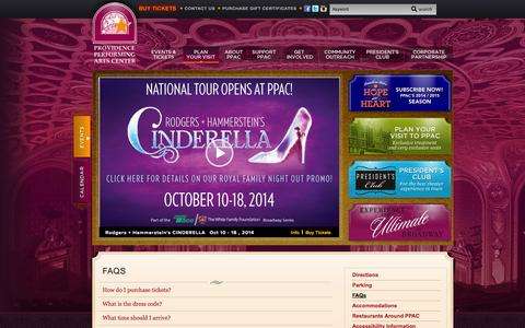 Screenshot of FAQ Page ppacri.org - Providence Performing Arts Center :: FAQs - captured Oct. 2, 2014