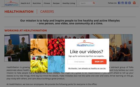 Screenshot of Jobs Page healthination.com - Careers - captured Dec. 3, 2015