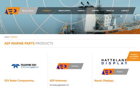 Screenshot of Products Page aepmarineparts.com - Products - AEP - captured July 28, 2018