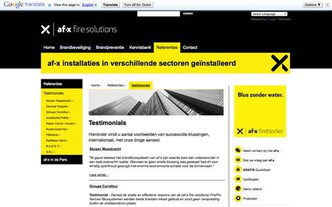 Screenshot of Testimonials Page afxfiresolutions.com - Brandbeveiliging specialist af-x fire solutions - captured Sept. 30, 2014