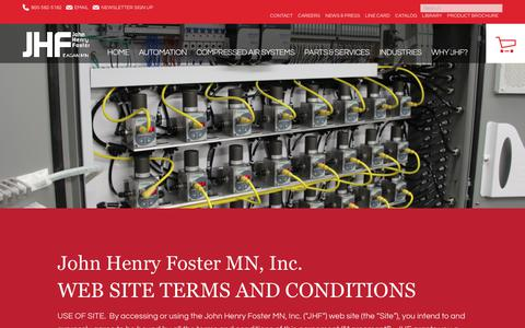 Screenshot of Terms Page jhfoster.com - John Henry Foster MN, Inc.  WEB SITE TERMS AND CONDITIONS. - captured Feb. 5, 2018