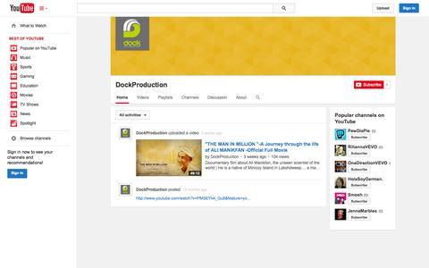 Screenshot of YouTube Page youtube.com - DockProduction  - YouTube - captured Oct. 28, 2014