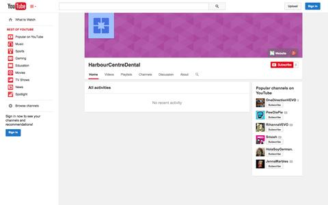 Screenshot of YouTube Page youtube.com - HarbourCentreDental  - YouTube - captured Oct. 22, 2014