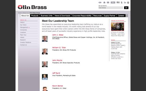 Screenshot of Team Page olinbrass.com - Copper Alloy Manufacturer | Management Team | GBC Holdings, Olin Brass - captured Oct. 26, 2014