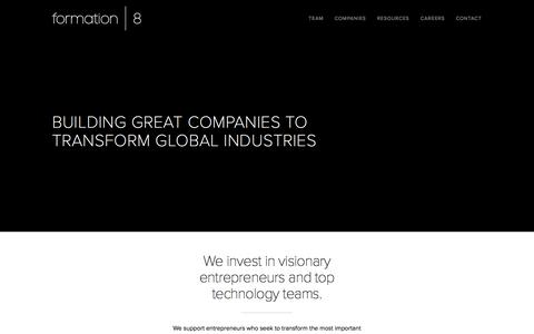 Screenshot of Home Page formation8.com - Formation 8 | Building Great Companies to Transform Global Industries - captured Sept. 19, 2014