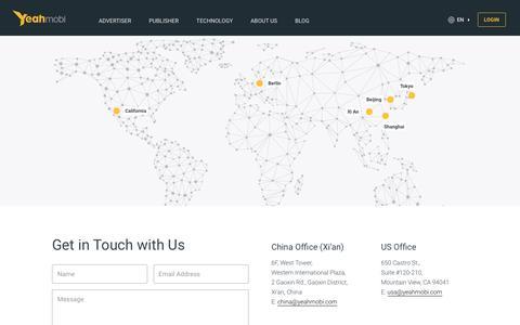 Screenshot of Contact Page yeahmobi.com - Contact Us | Yeahmobi - captured July 4, 2016