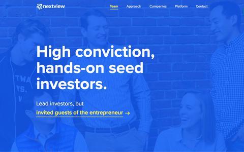 Screenshot of Team Page nextviewventures.com - Team - NextView Ventures - captured Aug. 2, 2017