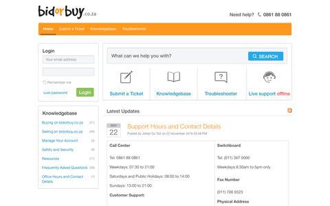 Screenshot of Contact Page bidorbuy.co.za - bidorbuy.co.za - Powered by Kayako Help Desk Software - captured Aug. 28, 2017