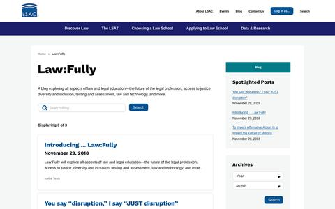 Screenshot of Blog lsac.org - Law:Fully | The Law School Admission Council - captured Dec. 2, 2018