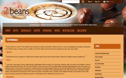 Screenshot of Testimonials Page 2beans.com - 2beans - captured Oct. 27, 2014