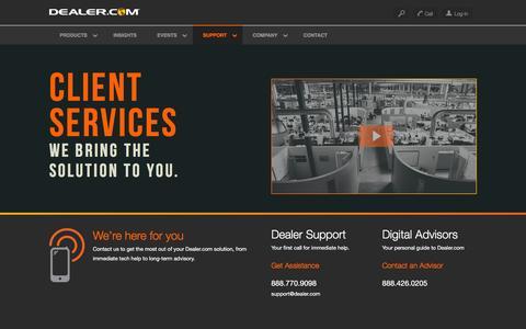 Screenshot of Support Page dealer.com - Dealer.com's Automotive Tech Support and Digital Advisory Teams - captured Dec. 30, 2015