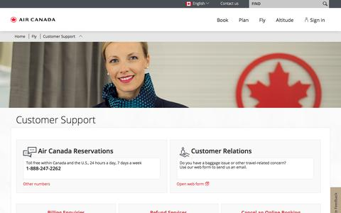 Screenshot of Support Page aircanada.com - Customer Support - captured March 28, 2018