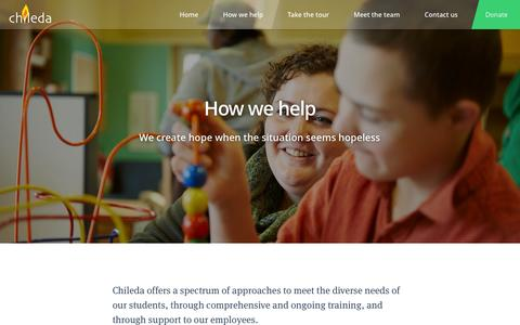 Screenshot of Services Page chileda.org - How we help kids with cognitive and behavior challenges - captured Sept. 29, 2014