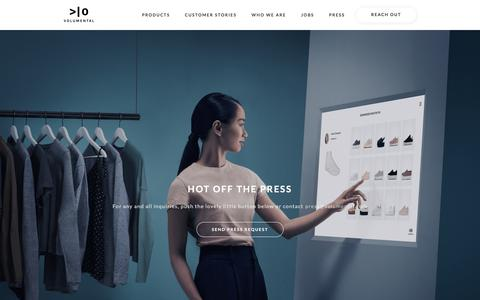 Screenshot of Press Page volumental.com - We're using 3D and AI to change the future of retail - captured July 10, 2019