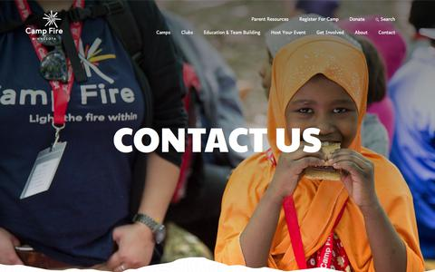 Screenshot of Contact Page campfiremn.org - Contact - Camp Fire Minnesota - captured July 14, 2017