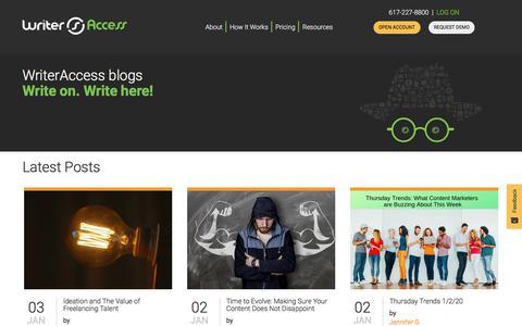 Screenshot of Blog writeraccess.com - Blog - WriterAccess - captured Jan. 4, 2020