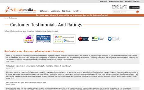 Screenshot of Testimonials Page softwaremedia.com - Testimonials   SoftwareMedia.com - captured Sept. 24, 2014