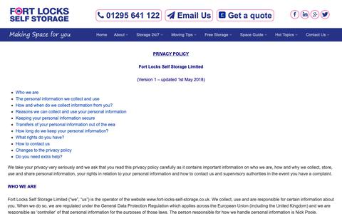 Screenshot of Privacy Page fort-locks-self-storage.co.uk - Fort Locks Self Storage,Banbury - Privacy Statement - captured Oct. 10, 2018