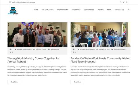 Screenshot of Press Page wateratworkministry.org - Water at Work Ministry - captured Feb. 13, 2016