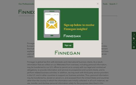 Screenshot of Privacy Page finnegan.com - Privacy | Finnegan | Leading Intellectual Property (IP) Law Firm - captured Sept. 25, 2018
