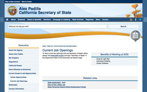 Screenshot of Jobs Page ca.gov - Current Job Openings   California Secretary of State - captured April 26, 2019