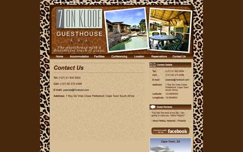 Screenshot of Contact Page 7onkloof.com - Plattekloof Guest Houses Cape Town North - captured Nov. 4, 2014