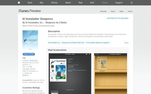 Screenshot of iOS App Page apple.com - El Instalador Doopress on the App Store on iTunes - captured Oct. 27, 2014