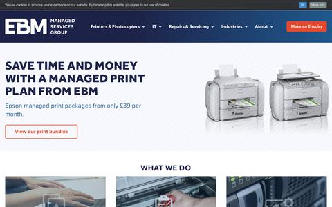 Screenshot of Home Page ebmltd.co.uk - Managed Print & IT Services, Printers & Copiers | EBM - captured Sept. 29, 2018